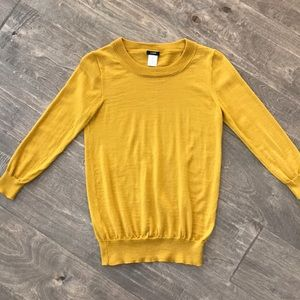 J crew yellow sweater crew neck merino wool XS
